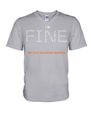 MS Warrior I'm Fine  V-Neck T-Shirt front