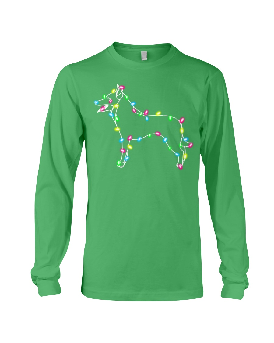 Christmas Lights Xmas Dog Belgian Malinois Long Sleeve Tee