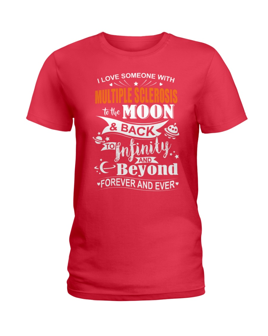 I Love Someone With MS To The Moon And Back Ladies T-Shirt