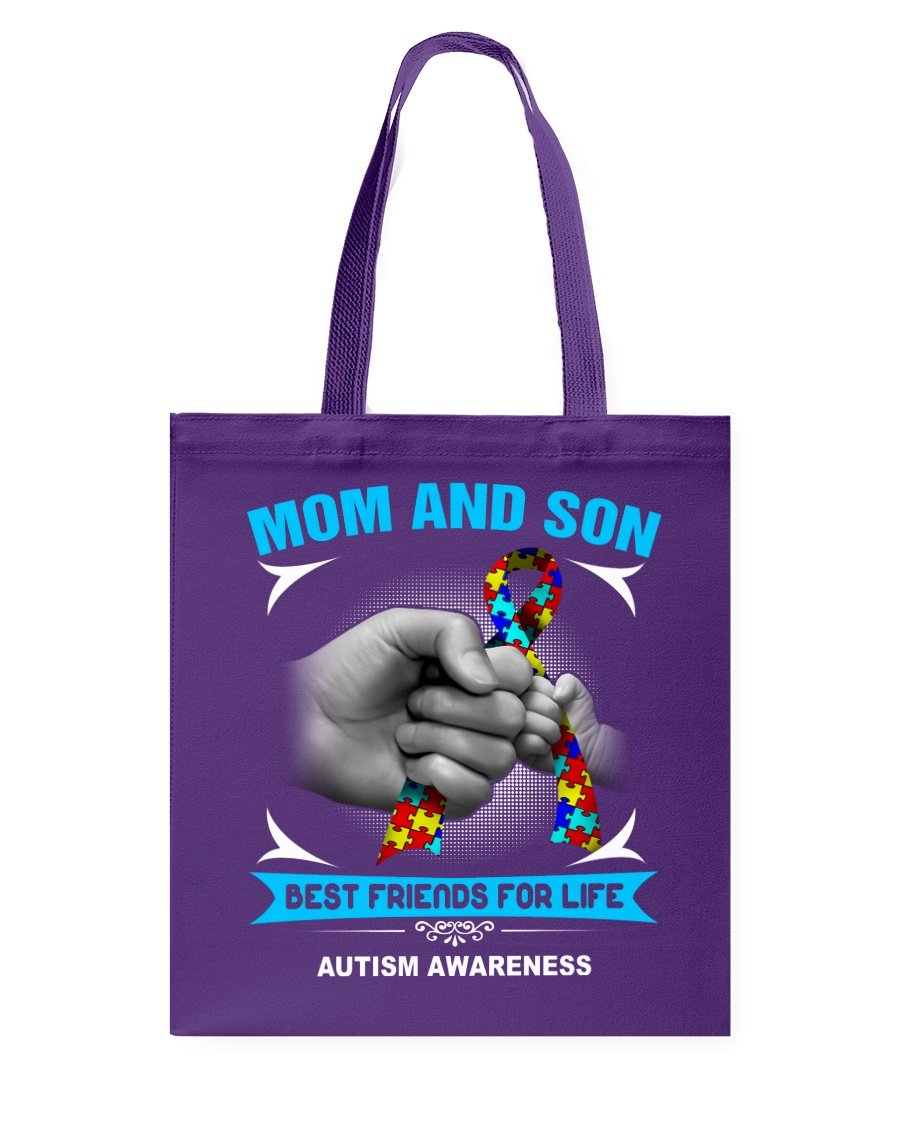 Autism Awareness Mom And Son Tote Bag showcase