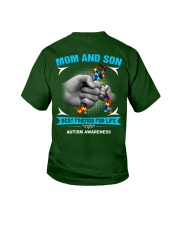 Autism Awareness Mom And Son Youth T-Shirt back
