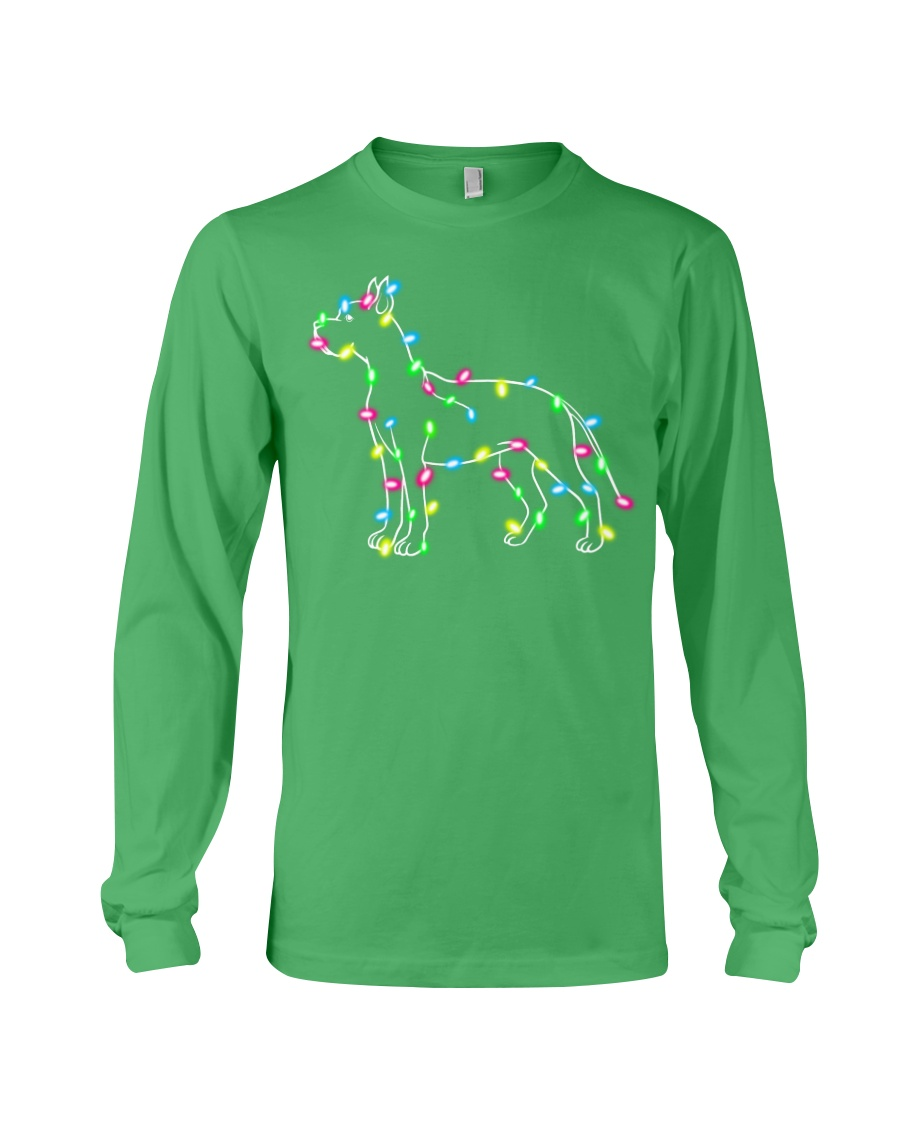 Christmas Lights Xmas Dog Great Dane Long Sleeve Tee