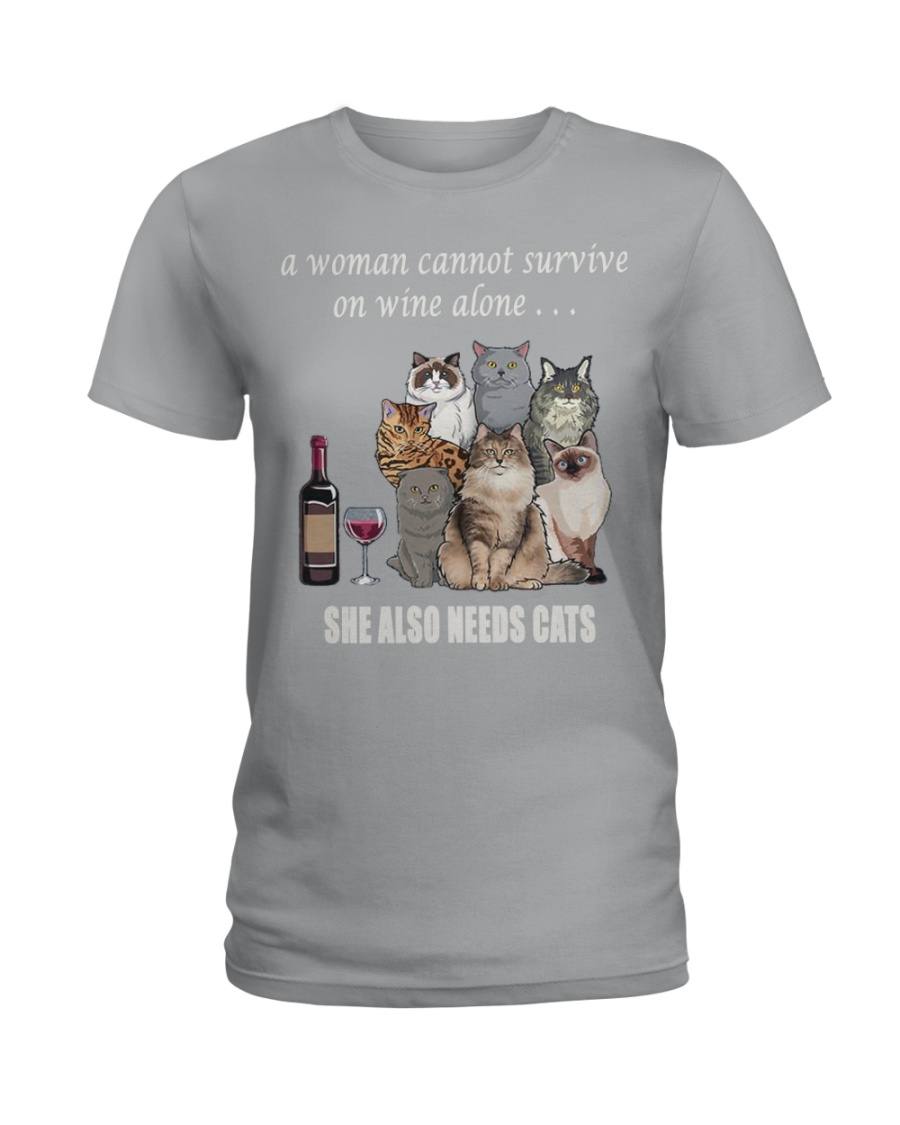 women survive with cats  t-shirt Ladies T-Shirt