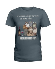 women survive with cats  t-shirt Ladies T-Shirt thumbnail