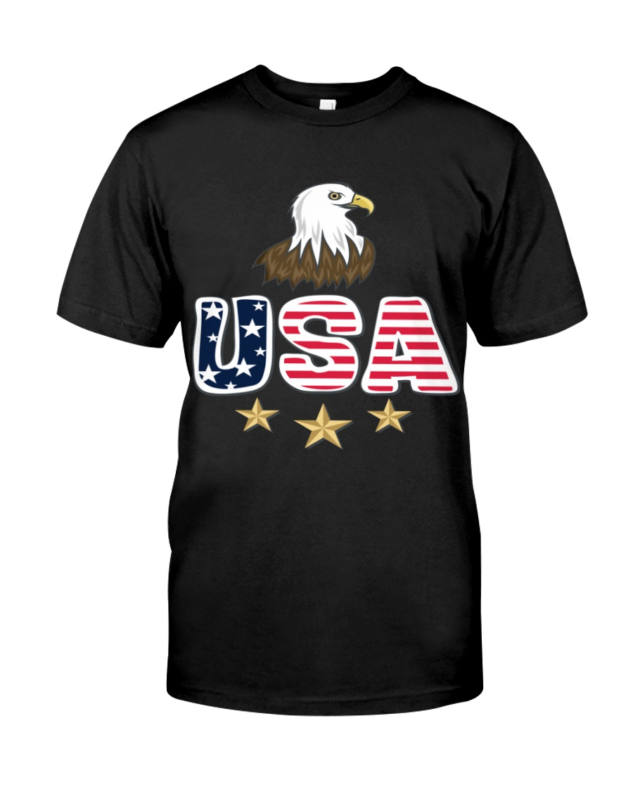Usa Bald Eagle T Shirt By Portokalis Design By Hum Classic T-Shirt