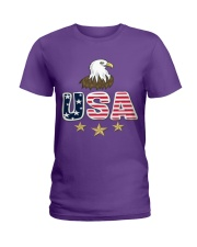Usa Bald Eagle T Shirt By Portokalis Design By Hum Ladies T-Shirt thumbnail