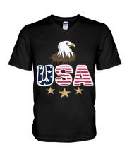 Usa Bald Eagle T Shirt By Portokalis Design By Hum V-Neck T-Shirt thumbnail