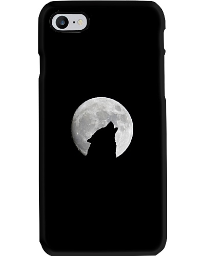 White Full Moon Wolf Phone Case