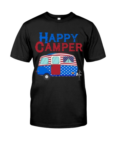USA Happy Camper US Flag Patriotic 4th Of July