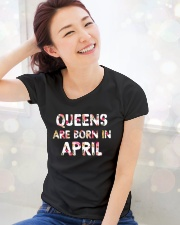 QUEENS ARE BORN IN APRIL Ladies T-Shirt lifestyle-holiday-womenscrewneck-front-1