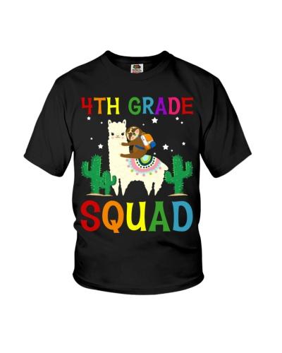 Sloth Riding Llama 4th Grade Squad Back To School