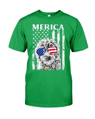 Merica Goldendoodle Golden Us Flag 4th Of July