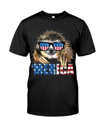 Merica American USA Patriotic Flossing Sloth