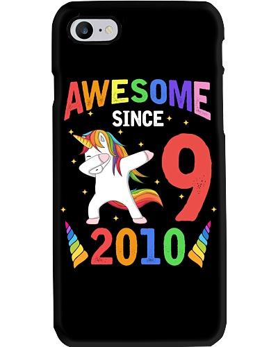 9 Years Old 9th Birthday Unicorn Dabbing Girl