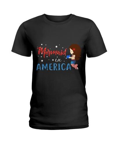 Mermaid In America Patriotic Little Girls 4th July