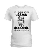 You Smell Like A Drama And A Headache Funny Llama Ladies T-Shirt front