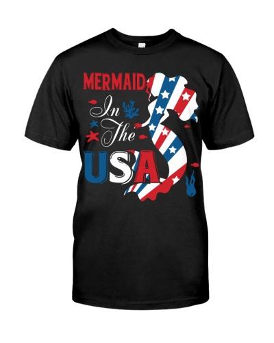 Mermaid In The USA 4thJuly American Flag Patriotic