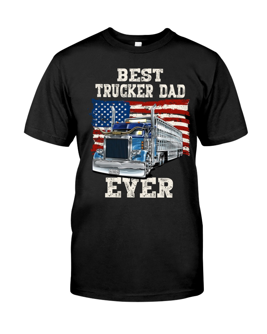 Vintage USA Best Trucker Dad Ever American Flag Classic T-Shirt