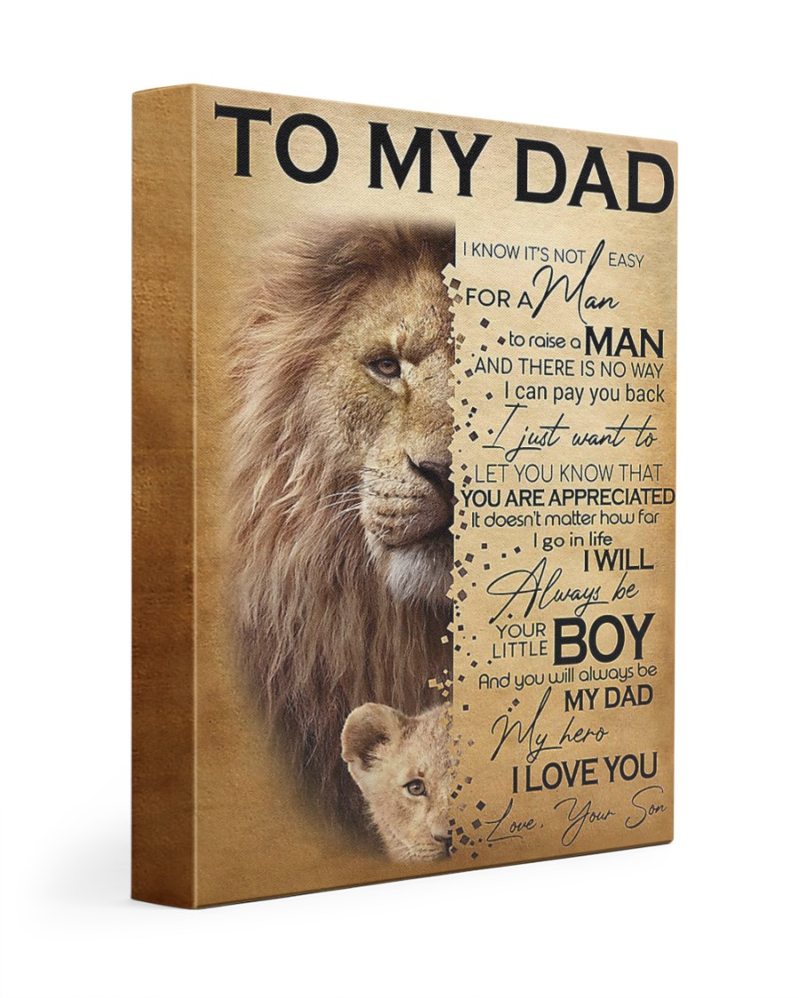 To My Dad Lion - Son - Canvas For Table 11x14 Gallery Wrapped Canvas Prints