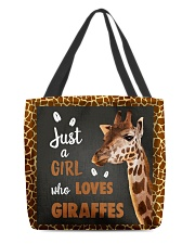 JUST A GIRL WHO LOVES GIRAFFES All-over Tote front
