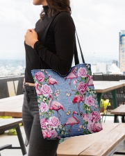 FLAMINGOES AND FLOWER BAG All-over Tote aos-all-over-tote-lifestyle-front-04