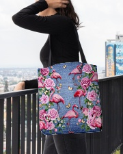 FLAMINGOES AND FLOWER BAG All-over Tote aos-all-over-tote-lifestyle-front-05