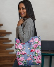 FLAMINGOES AND FLOWER BAG All-over Tote aos-all-over-tote-lifestyle-front-08