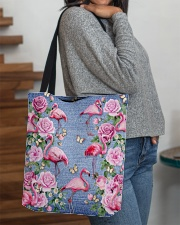FLAMINGOES AND FLOWER BAG All-over Tote aos-all-over-tote-lifestyle-front-09
