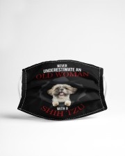 SHIH-TZU NEVER UNDERESTIMATE AN OLD WOMAN Cloth face mask aos-face-mask-lifestyle-22