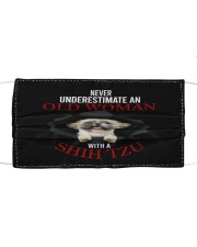 SHIH-TZU NEVER UNDERESTIMATE AN OLD WOMAN Cloth face mask front