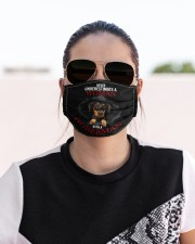 NEVER UNDERESTIMATE A WOMAN WITH A DOBERMAN Cloth face mask aos-face-mask-lifestyle-02