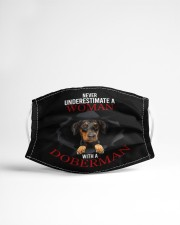 NEVER UNDERESTIMATE A WOMAN WITH A DOBERMAN Cloth face mask aos-face-mask-lifestyle-22