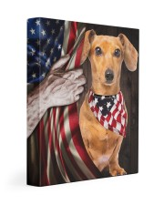 DACHSHUND CANVAS WITH USA FLAG 11x14 Gallery Wrapped Canvas Prints front
