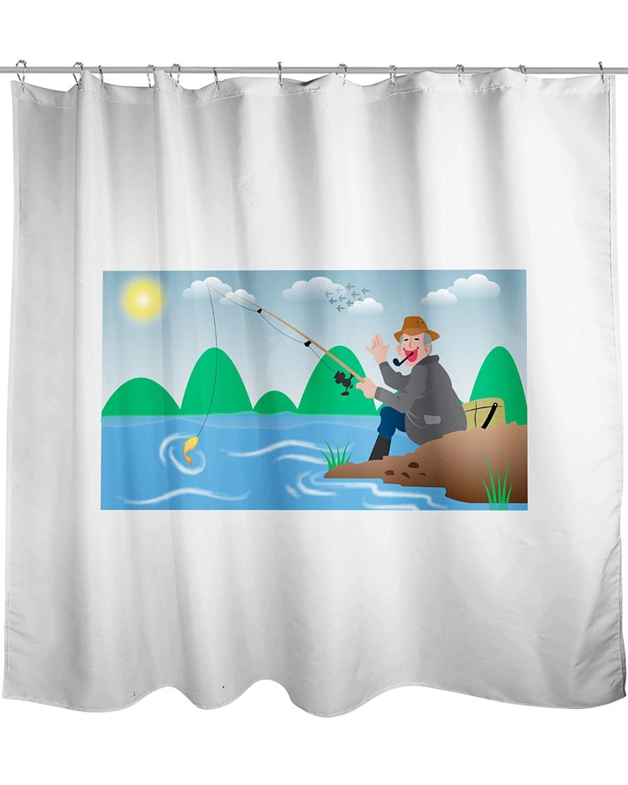 Happy Fishing Men Shower Curtain