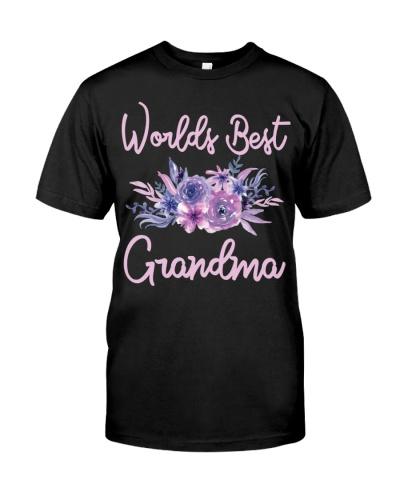 Worlds Best Grandma tshirt Purple Aqua Flower