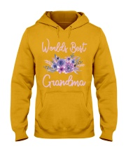 Worlds Best Grandma tshirt Purple Aqua Flower Hooded Sweatshirt thumbnail
