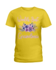 Worlds Best Grandma tshirt Purple Aqua Flower Ladies T-Shirt thumbnail
