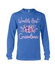Worlds Best Grandma tshirt Purple Aqua Flower Long Sleeve Tee thumbnail