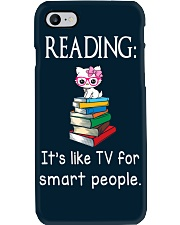 Cat reading book - Tv for smart people Phone Case thumbnail
