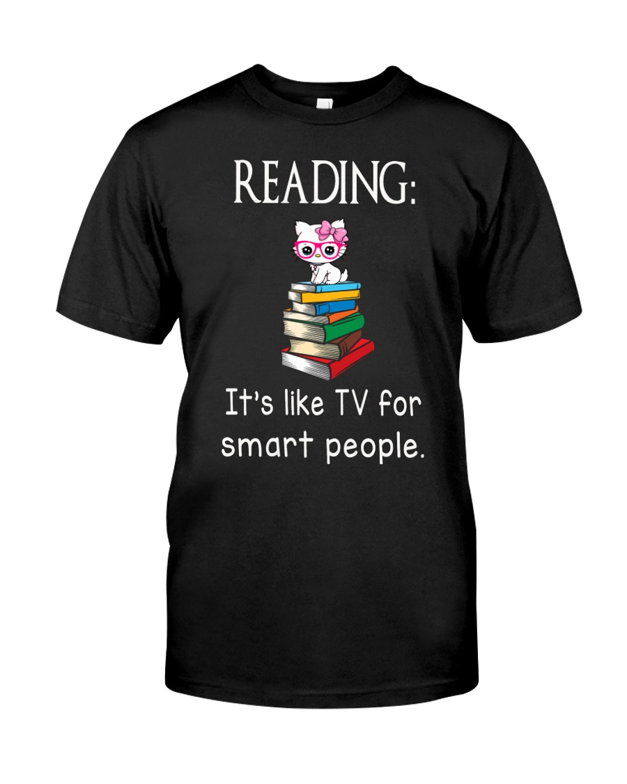 Cat reading book - Tv for smart people Classic T-Shirt
