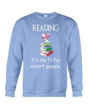 Cat reading book - Tv for smart people Crewneck Sweatshirt thumbnail