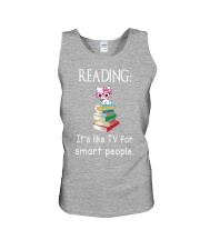 Cat reading book - Tv for smart people Unisex Tank thumbnail