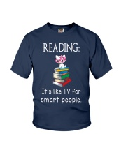 Cat reading book - Tv for smart people Youth T-Shirt thumbnail