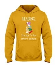 Cat reading book - Tv for smart people Hooded Sweatshirt thumbnail