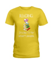 Cat reading book - Tv for smart people Ladies T-Shirt thumbnail