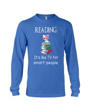 Cat reading book - Tv for smart people Long Sleeve Tee thumbnail