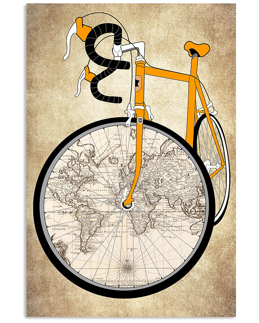 Vintage Poster Bike World Map 11x17 Poster
