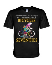Equal Cycling SEVENTIES Women Shirt - FRONT V-Neck T-Shirt tile