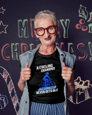 A Cycling Grandma - Never Gets Old Premium Fit Ladies Tee lifestyle-holiday-crewneck-front-3