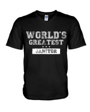 World's Greatest Janitor V-Neck T-Shirt thumbnail